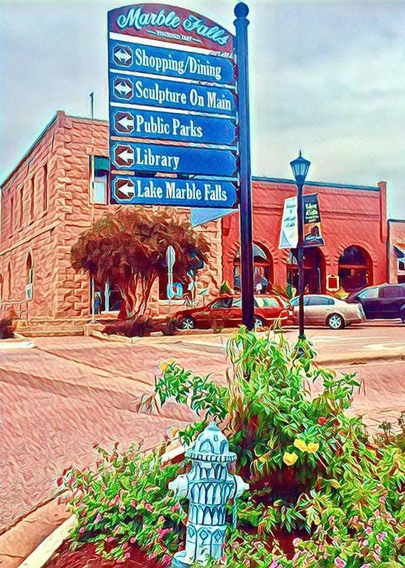 Marble Falls Poster featuring the digital art Main Street by Wendy Biro-Pollard