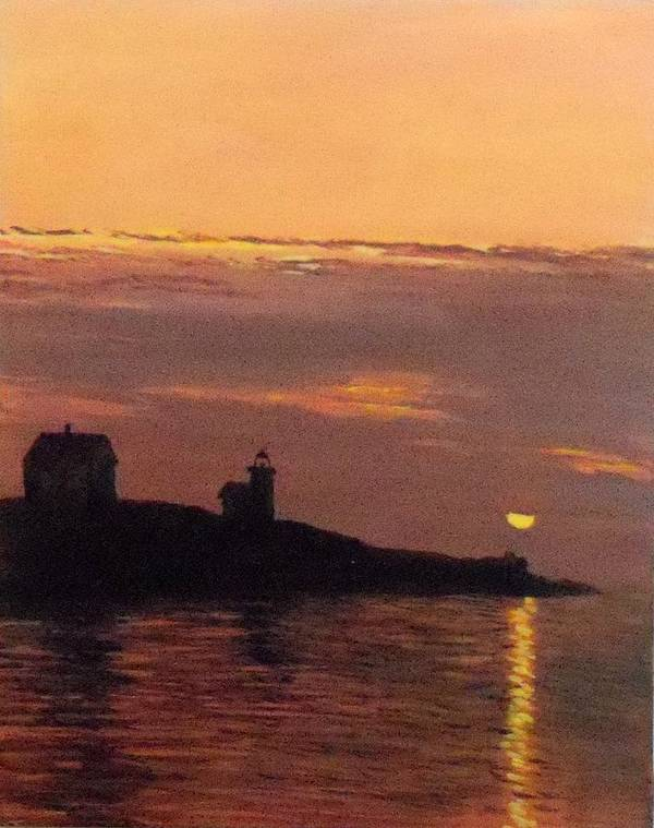 Maine Lighthouse Sundown Poster featuring the painting Maine Lighthouse Sundown by William Tremble