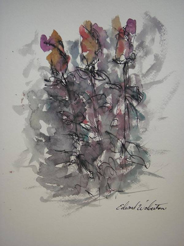 Florals Poster featuring the painting Majestic Floral E by Edward Wolverton