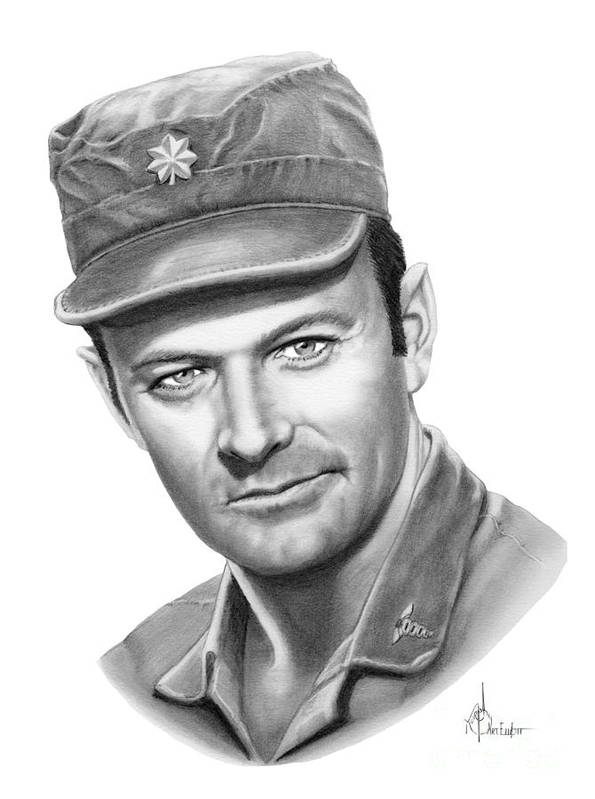 Pencil Poster featuring the drawing Major Frank Burns by Murphy Elliott
