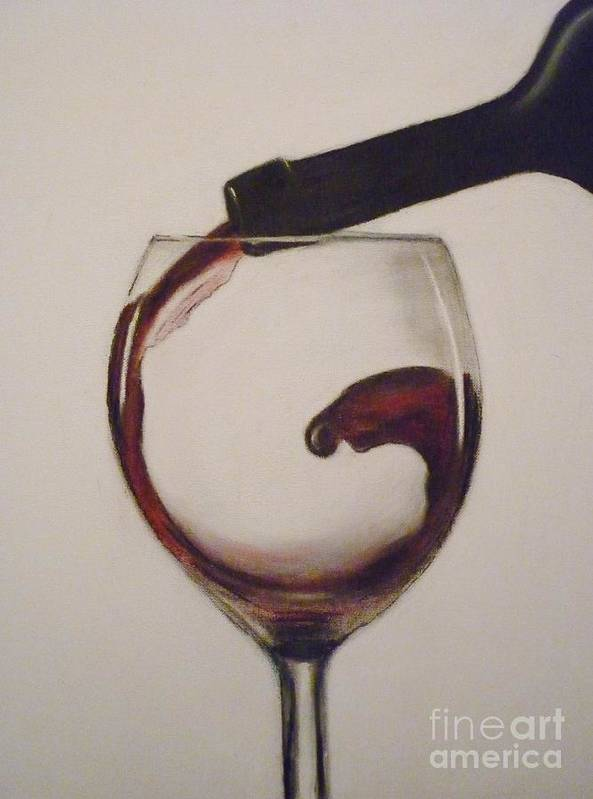 Red Poster featuring the pastel Make Mine A Red Wine by Paul Horton