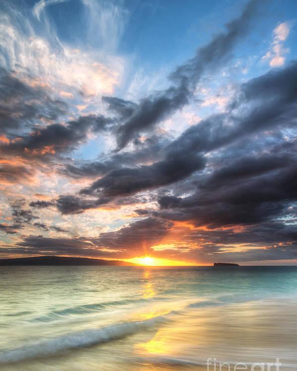 Makena Sunset Poster featuring the photograph Makena Beach Maui Hawaii Sunset by Dustin K Ryan