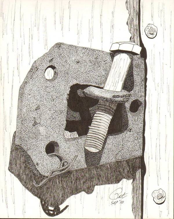 Pen And Ink Poster featuring the drawing Makeshift by Pat Price