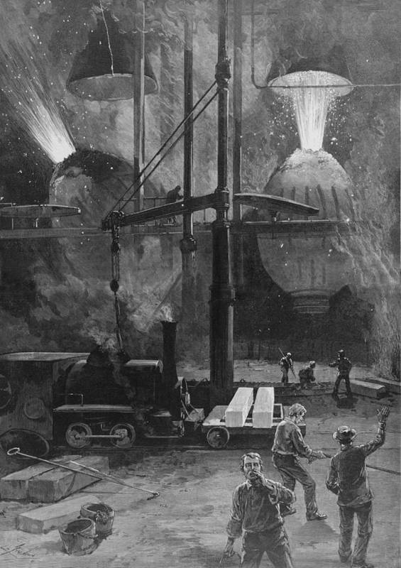 History Poster featuring the photograph Making Steel With Bessemer Converters by Everett