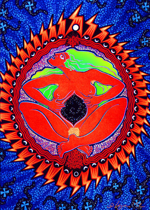 Whimsical Poster featuring the painting Mama Cosmos by Angela Treat Lyon