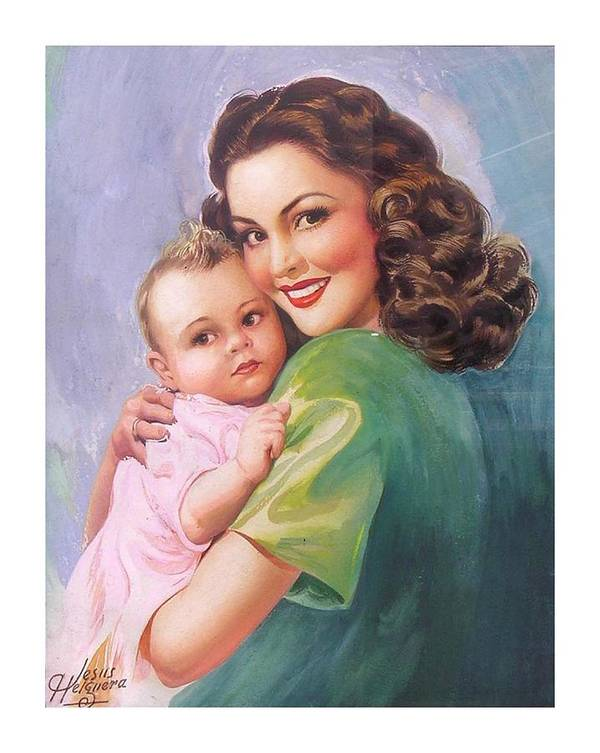 Mom Poster featuring the painting Mama by Jesus Helguera