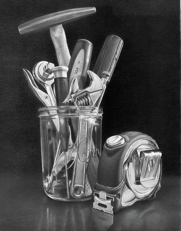 Tools Poster featuring the drawing Man Vase by Christopher Bracken