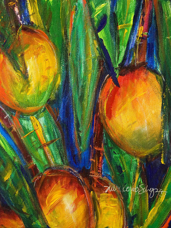 A4-csm0143 Poster featuring the painting Mango Tree by Julie Kerns Schaper - Printscapes