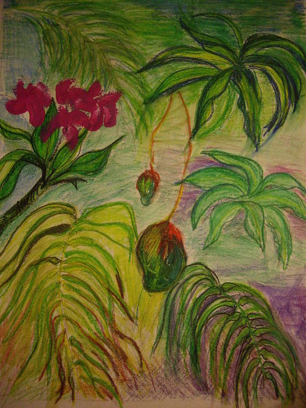 Mangoes Poster featuring the mixed media Mangoes by Lee Krbavac