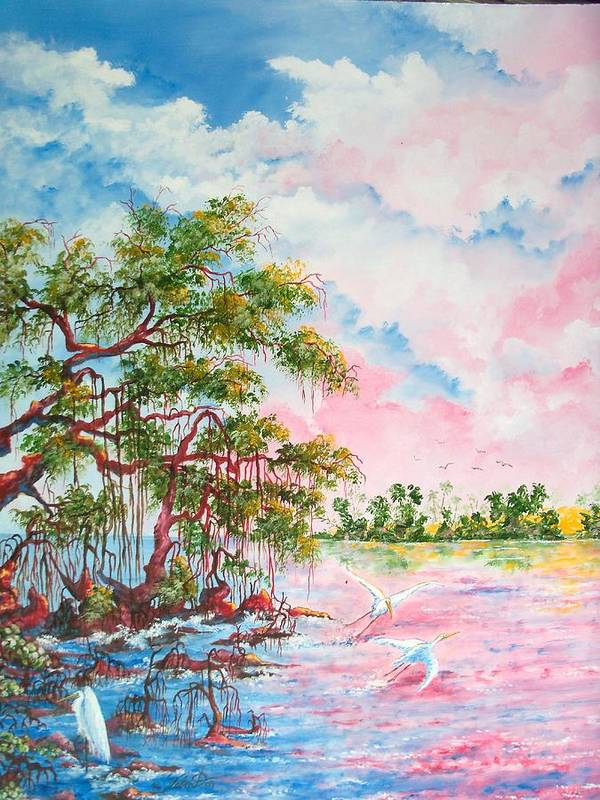 Landscapes Poster featuring the painting Mangroves by Dennis Vebert
