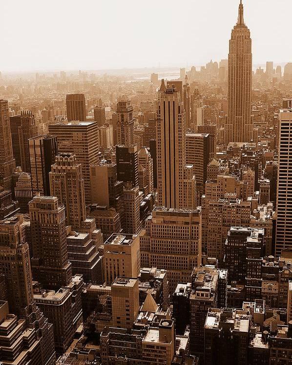 Cityscape Poster featuring the photograph Manhattan Aerial Sepia by Allan Einhorn
