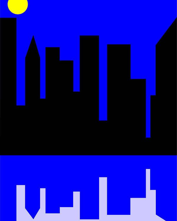 Manhattan Poster featuring the digital art Manhattan by Asbjorn Lonvig