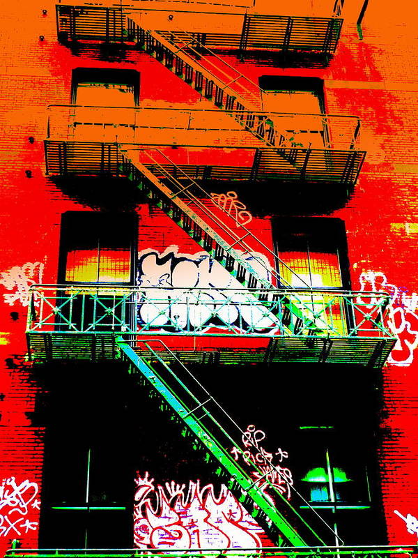 City Poster featuring the photograph Manhattan Fire Escape by Funkpix Photo Hunter