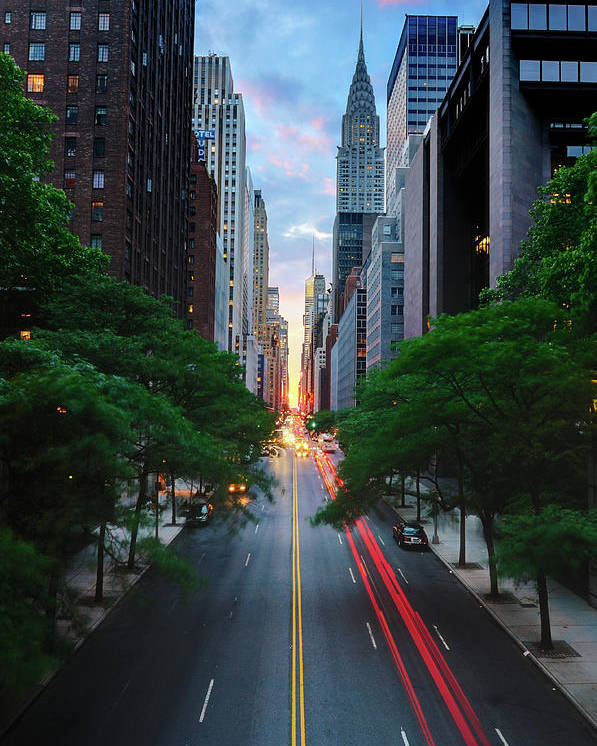 Vertical Poster featuring the photograph Manhattanhenge From 42nd Street, New York City by Andrew C Mace