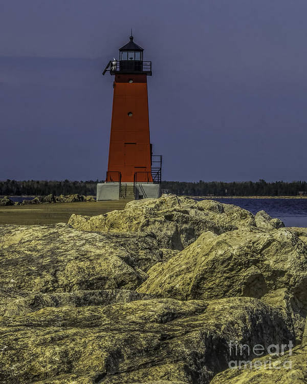 Breakwater Poster featuring the photograph Manistique East Breakwater Light by Nick Zelinsky