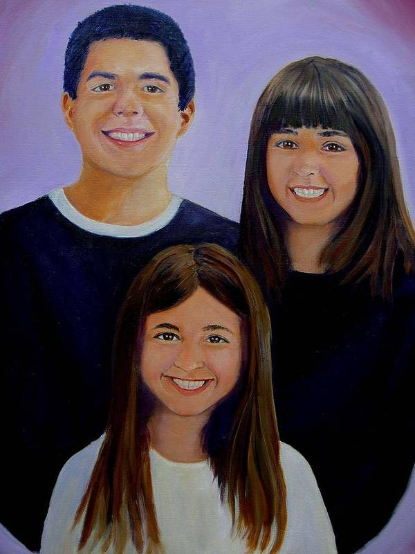 Portrait Poster featuring the painting Mann Family by George Markiewicz