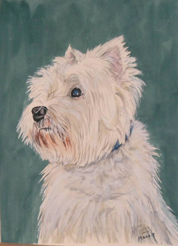 Dog Poster featuring the painting Mannie by Diane Ziemski