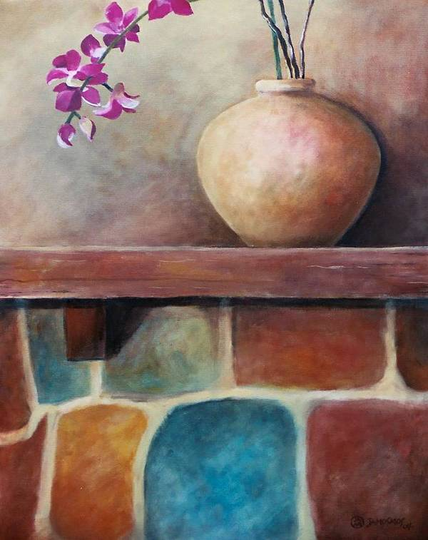 Mantel Poster featuring the painting Mantel Beauty by Jun Jamosmos