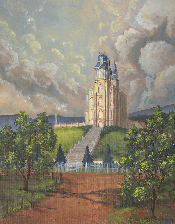 Manti Temple Poster featuring the painting Manti Summer by Jeff Brimley