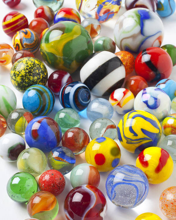 Marble Poster featuring the photograph Many Beautiful Marbles by Garry Gay