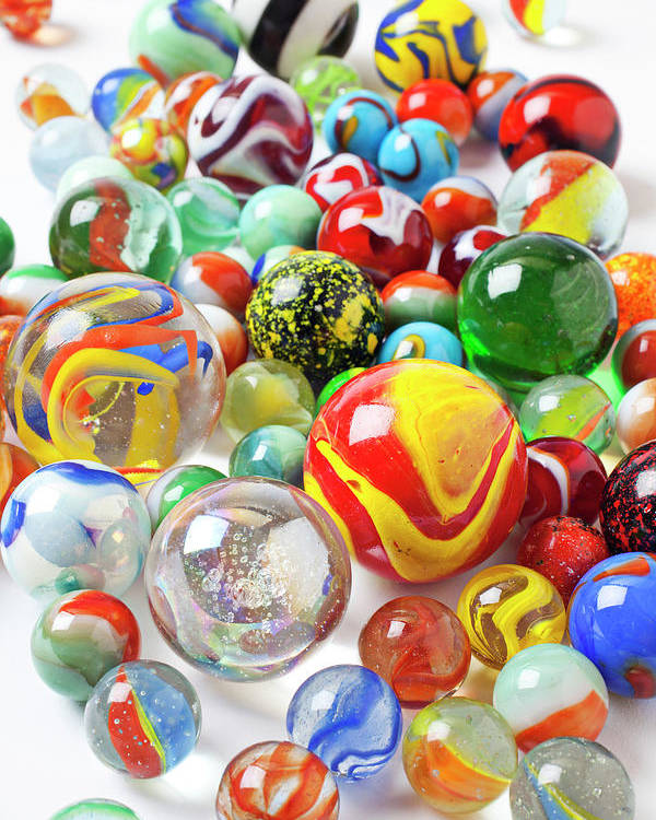 Marble Marbles Many Pile Shooter Shooters Round Glass Toy Toys C Poster featuring the photograph Many Marbles by Garry Gay
