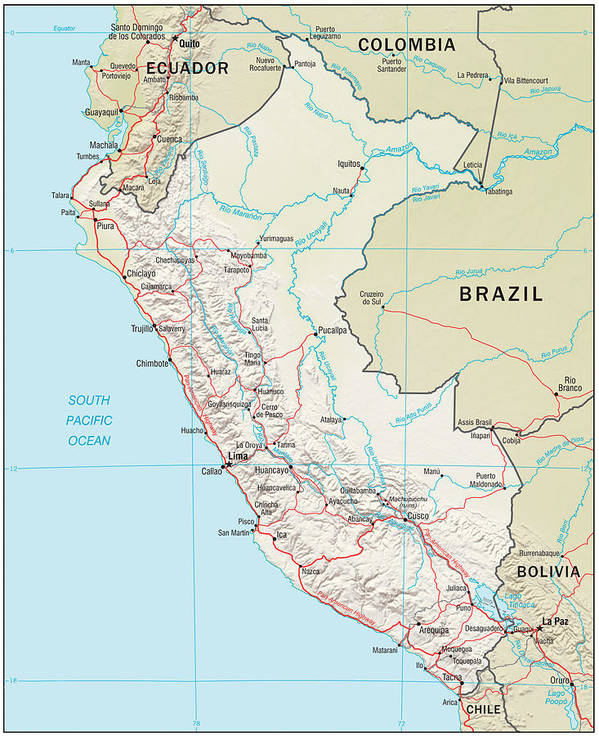 Atlas Poster featuring the mixed media Map Of Peru 2 by Roy Pedersen