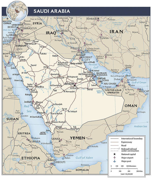 Atlas Poster featuring the mixed media Map Of Saudi Arabia 2 by Roy Pedersen