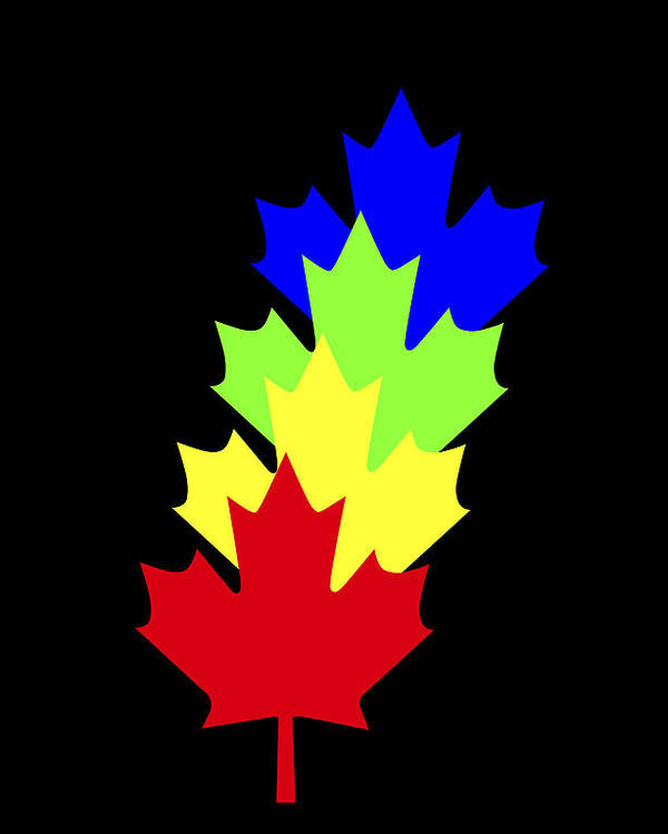 Maple Leaves Poster featuring the painting Maple Leaves by Asbjorn Lonvig