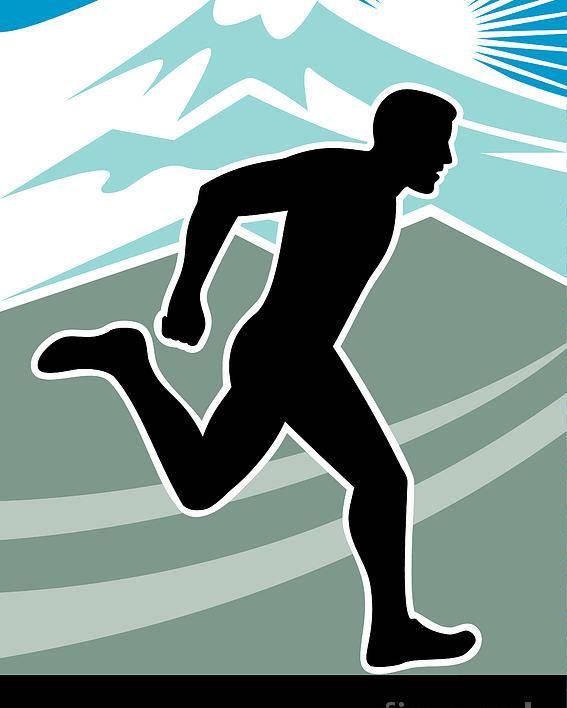 Marathon Poster featuring the digital art Marathon Runner by Aloysius Patrimonio