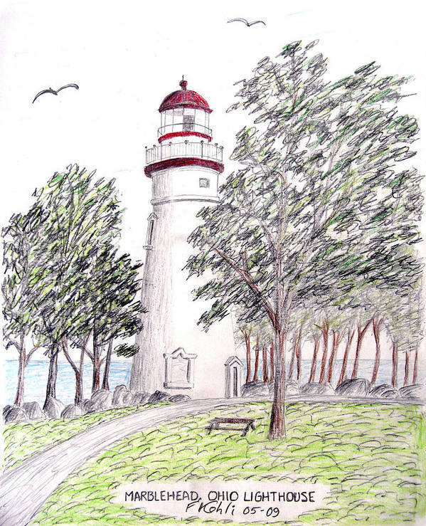 Lighthouse Artwork Poster featuring the drawing Marblehead Ohio Lighthouse by Frederic Kohli