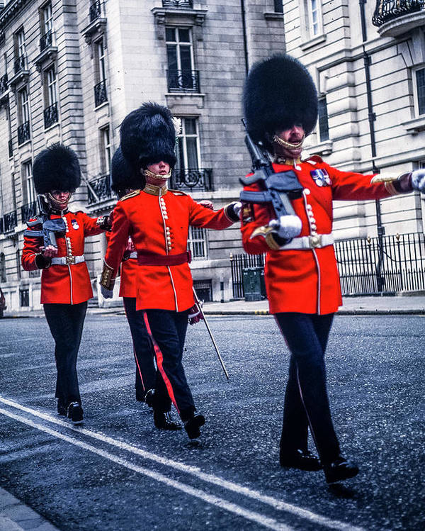 Grenadier Guards Marching London History Architecture Stone Walls England Scotland Wales Sheep Statues Poster featuring the photograph Marching Grenadier Guards by Mike Goldstein