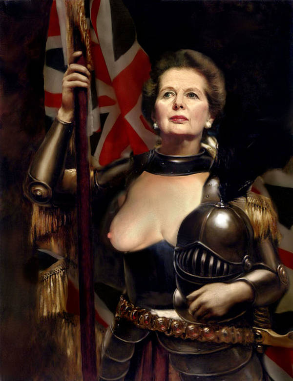 Margaret Thatcher Poster featuring the painting Margaret Thatcher Nude by Karine Percheron-Daniels