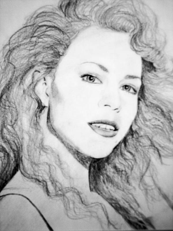 Mariah Carey Poster featuring the drawing Mariah by Terry Groehler