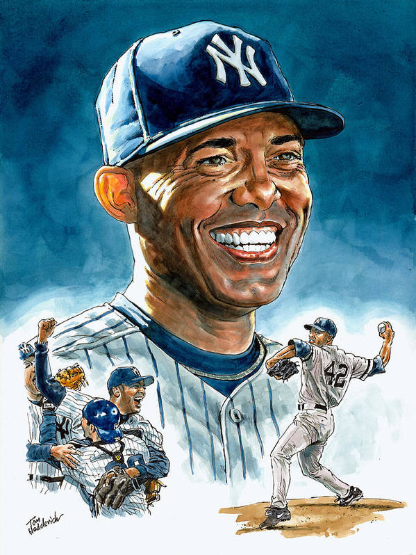 Mariano Rivera Poster featuring the painting Mariano by Tom Hedderich