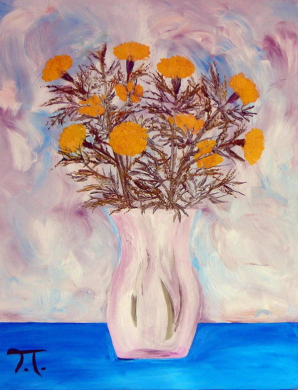 Marigolds Flowers Vase Blue Table Poster featuring the painting Marigolds by Troy Thomas