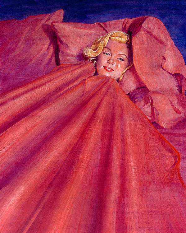 Marilyn Monroe Poster featuring the painting Marilyn In Bed by Ken Meyer