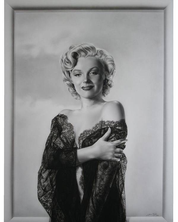 Marilyn Poster featuring the painting Marilyn In Lace by Terry Stephens