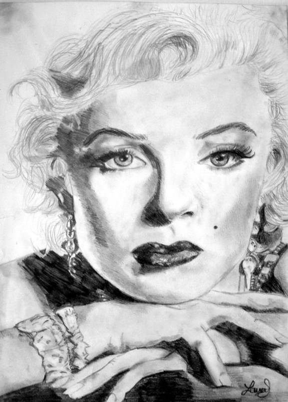 Celebrity Poster featuring the drawing Marilyn In Pose by Laura Seed