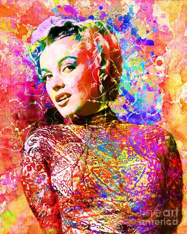 Marilyn Monroe Art Poster featuring the mixed media Marilyn Monroe Art by Ryan Rock Artist