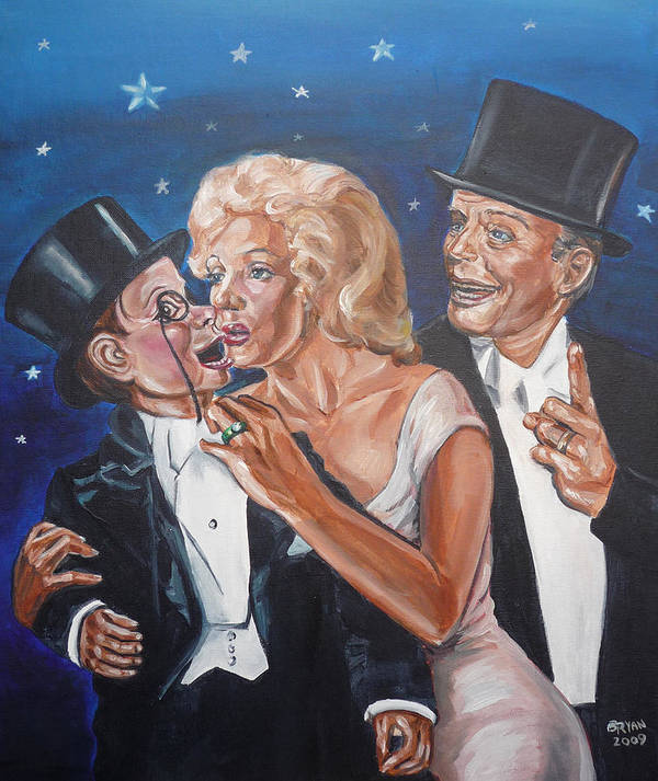 Old Time Radio Poster featuring the painting Marilyn Monroe Marries Charlie Mccarthy by Bryan Bustard
