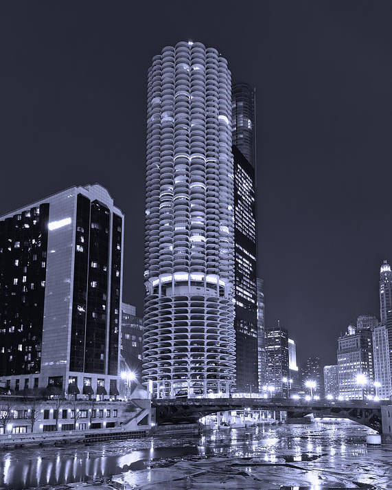 Marina City Poster featuring the photograph Marina City On The Chicago River In B And W by Steve Gadomski