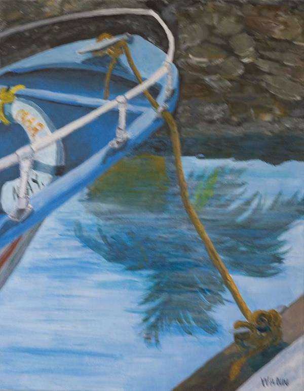 Marine Poster featuring the painting Marina Reflections by Anita Wann