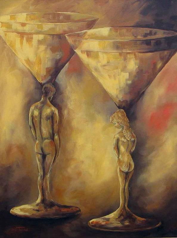 Martini Poster featuring the painting Marriage Of The Martinis by Torrie Smiley