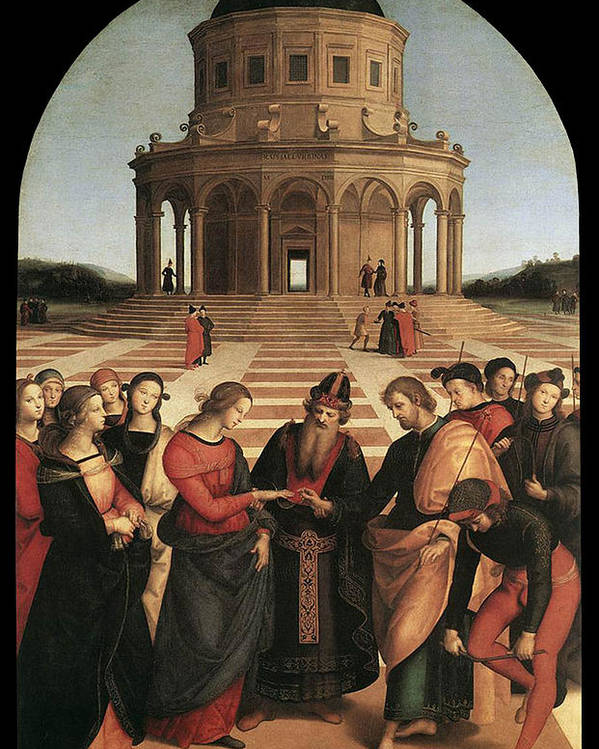 Raphael Poster featuring the painting Marriage Of The Virgin - 1504 by Raphael