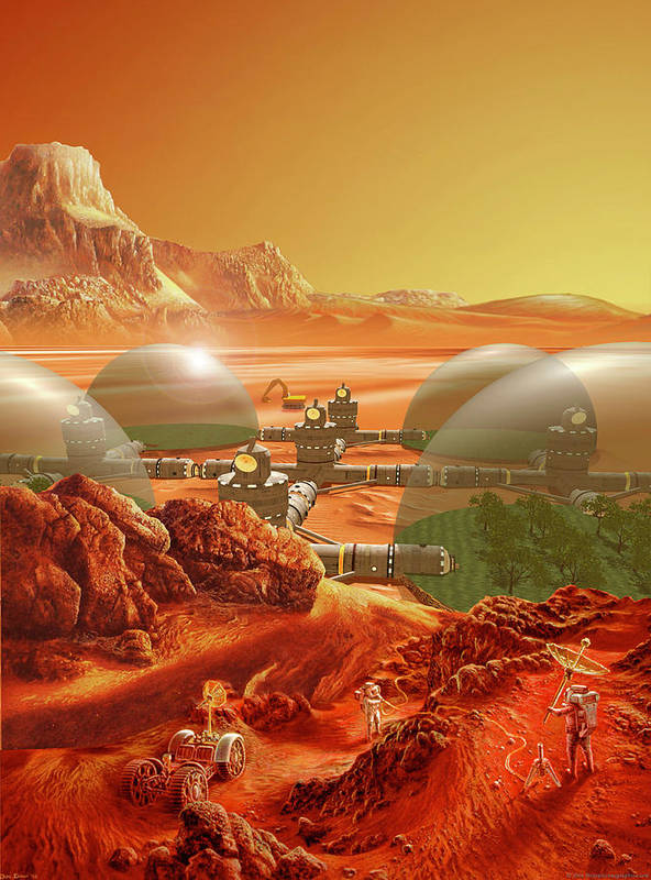 Mars Poster featuring the painting Mars Colony by Don Dixon