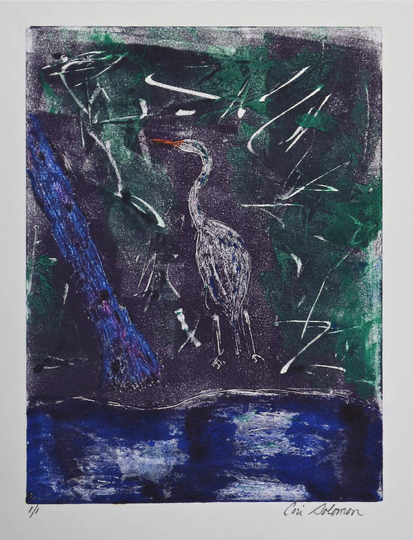 Monotype Poster featuring the mixed media Marsh Magic by Cori Solomon
