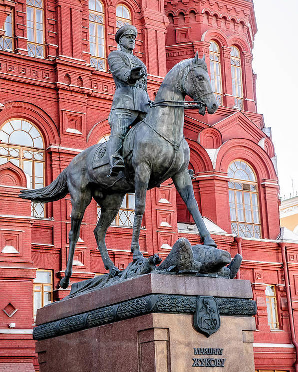 Europe Poster featuring the photograph Marshal Georgy Konstantinovich Zhukov Statue by Alain De Maximy