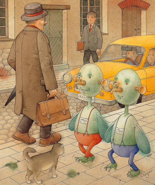 Martians Ufo Cat Street Fantastic Poster featuring the painting Martians by Kestutis Kasparavicius