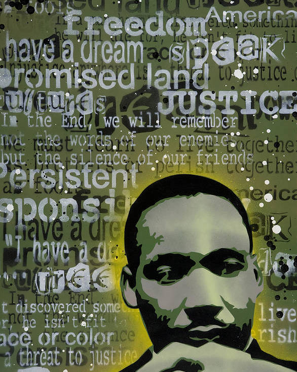 Pop Poster featuring the painting Martin Luther King by Tai Taeoalii