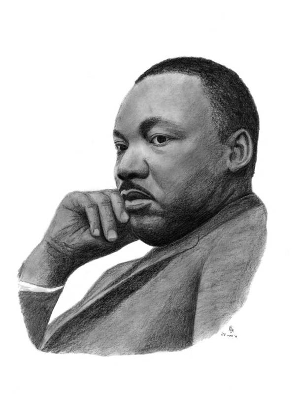 King Poster featuring the drawing Martin Luther King Jr by Charles Vogan
